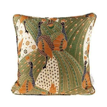 Pre-owned Quilted Green Peacock Batik Throw Pillow