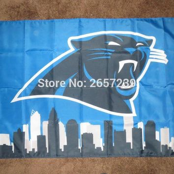 Carolina Panthers Skyline  flag  3x5FT NFL banner150X90CM 100DPolyester brass grommets custom flag, Free Shipping