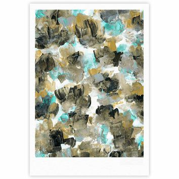 """Ebi Emporium """"Floral Spray 6"""" Maroon Multicolor Floral Abstract Painting Mixed Media Fine Art Gallery Print"""