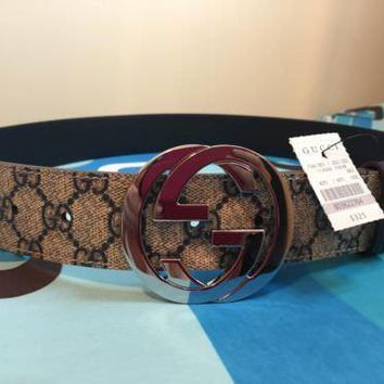 2018! Gold Buckle GUCCI-Men's Leather Belt in Black 110CM: 31-34 inch Waists #4