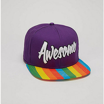 Awesome Rainbow Brim Snapback Hat - Spencer's