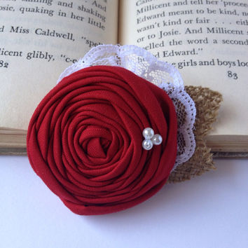 Shabby chic rustic vintage red rosette hair accessory burlap pearls lace clip flower girl bridal fall wedding custom color cranberry cherry