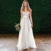 Don's Bridal Sexy Summer Lace Boho Beach Wedding Dress 2017 Romantic Tulle See Through Vestido De Noiva Bridal Dresses