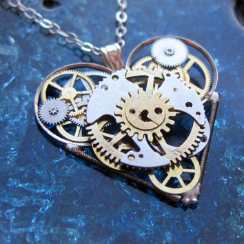 "Watch Parts Heart Necklace ""Armored"" Elegant Industrial Heart Pendant Steampunk Sculpture Gershenson-Gates Mechanical Mind Christmas"