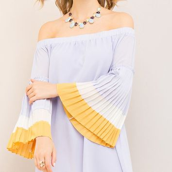 Best Of The West Long Pleated Bell Sleeve Off The Shoulder Colorblock Shift Mini Dress