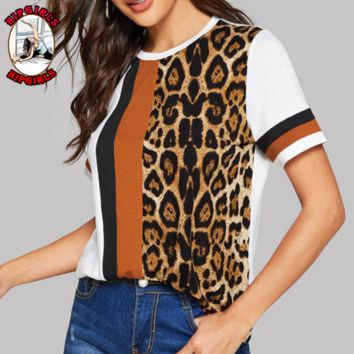 New fashion leopard print contrast color top women