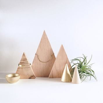Wood Triangle Necklace Display