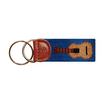 Guitar Needlepoint Key Fob in Blue by Smathers & Branson