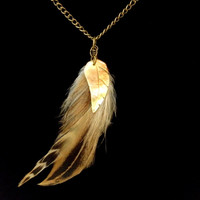Natural feather and mother of pearl boho necklace