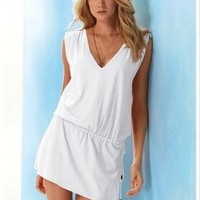 Ninimour- Cover-up,beach Casual Short Dress (White)