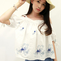 White Floral Print Strapless Short Sleeve Blouse