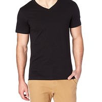 Solid Black V-Neck Tee