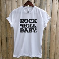 Rock n' Roll Baby T-shirt, Ladies Unisex crewneck heather t-shirt, trendy graphic tee, rock and roll baby