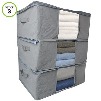 Evelots Storage Bag-Blanket/Clothing-Foldable-Large-Handles-Clear Window-Set/3