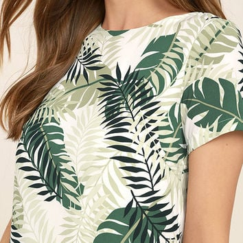 Give Me a Print Ivory and Green Print Shift Dress