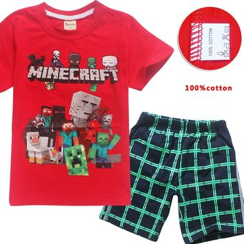 2pcs Cotton Minecraft Cartoon Children's clothing Casual Our World Boys Girls  Kids T Shirt+ pants set baby