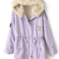 Purple Fur Hooded Zipper Embellished Fleece Inside Military Coat | CozBest:lastest womens fashion clothing,shoes,dresses shop online
