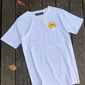 LEE Smiley face Bust Side Flag letters print  T-shirt top C-A-HRWM White