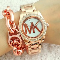 "Hot Sale MK ""Michael Kors"" Unisex Big Logo Diamond Movement Watch Wristwatch Rose Gold N-Fushida-8899"