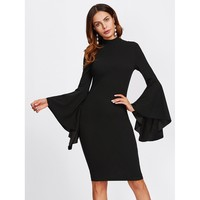 Letticia Bell Sleeve Dress - Black