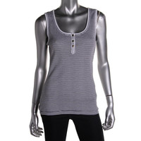 Tommy Hilfiger Womens Striped Button Placket Tank Top