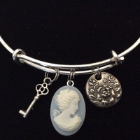 Blue and White Cameo Girl Charm on a Silver Plated Expandable Bracelet Wire Bangle Meaningful Gift Adjustable Stacking Trendy