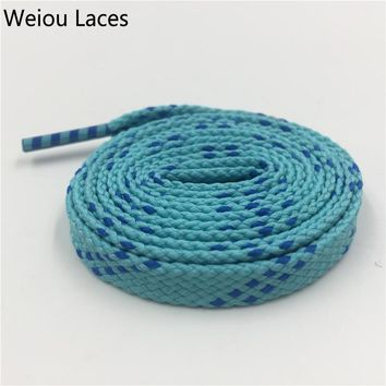 Weiou 1 pair 1cm Width Kids Adult Blue Turquoise Athletic Sport Sneakers Flat Shoelaces Bootlaces Shoe laces Strings Custom lace