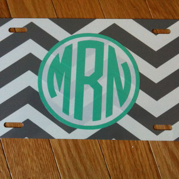 Personalized Chevron License Plate/Monogram Car Tag