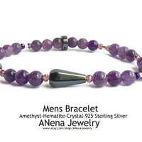 SPIRITUAL BALANCE Mens Bracelet By ANena Jewelry: Amethyst, Hematite, 925 Sterling Silver, and  Crystal