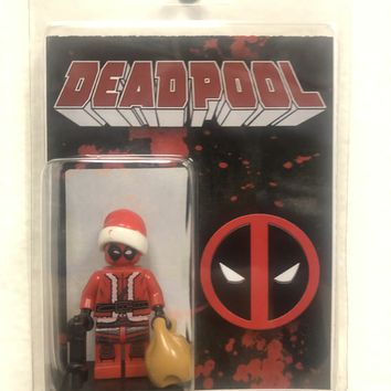 Block Minifigure Deadpool  Santa Suit Christmas