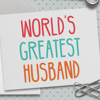 Cute Valentine Card, Anniversary Card, World's Greatest Husband Card, 5.5 x 4.25 Inch (A2), Cute Love Card, Cards for Husband, Cards for Him