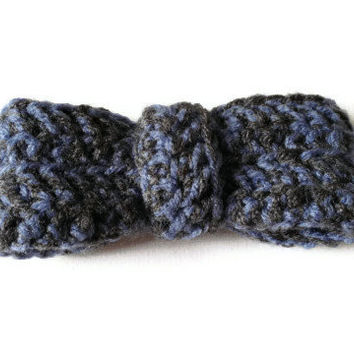 Bow Brooch, Blue and Grey Bow, Clip on Bow Tie, Crochet