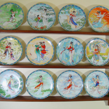 Chinese Legends of West Lake Collector Plates & Display Shelf - Bradford Exchange Imperial Jingdezhen Porcelain Plates Complete Series of 12
