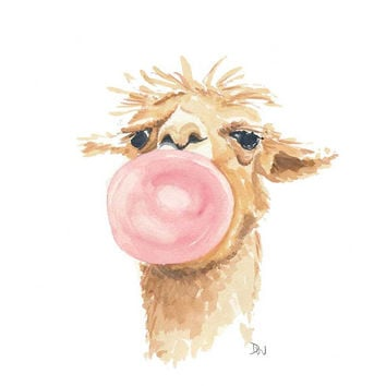 Llama Watercolor Original Painting, Bubblegum Bubble, Llama Painting, Nursery Art, 8x10 art