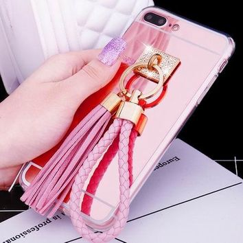 Phone Cases with Pink Rope Key Chain For iPhone 7 / Plus