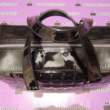 Chanel Leather Black Chocolate Bar CC Bowler Hand Bag Quilted Patent Large