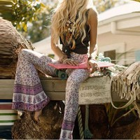 VONEFC2 Boho Bell Bottom Pants 'Gypsy Love' Lilac Bells Purple & Pink Print Hippie Bellbottoms Size Small Medium Or Large