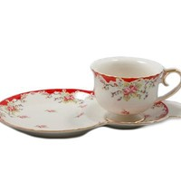 Gracie China by Coastline Imports Vintage Red Rose Porcelain 2-Piece Snack Set, Red