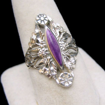 STERLING SILVER CLOUD Large Nouveau Style Vintage Cocktail Ring Flowers Sugilite