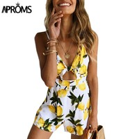 Tropical Fruit Print Tie Up Rompers