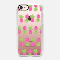 Pink Pineapple Stripes - Transparent/Clear Background iPhone 7 Case by Lisa Argyropoulos | Casetify