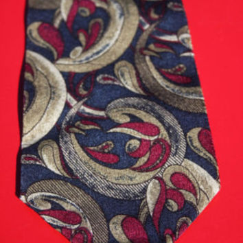 Z Inc Silk Purple, Green and Blue Swirl Design Men's Novelty Tie