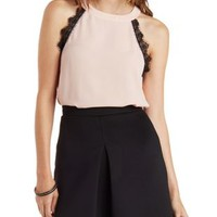 Evening Sand Racer Front Lace Tank Top by Charlotte Russe