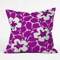 Jacqueline Maldonado Painted Floral Magenta Throw Pillow