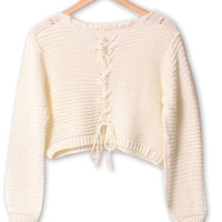 Cream Lace Up Back Crop Cable Knit Jumper