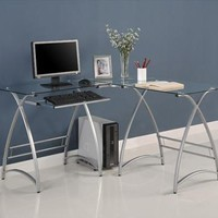 Trendy And Durable L-Shaped Glass Computer Desk-Clear/Silver by Walker Edison