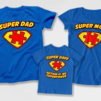 Matching Family Outfits Autism Mom Shirt Autistic Kid Autism Dad T Shirt Autism Speaks Day Autism Is My Superpower Bodysuit DN-4(35-28-21)