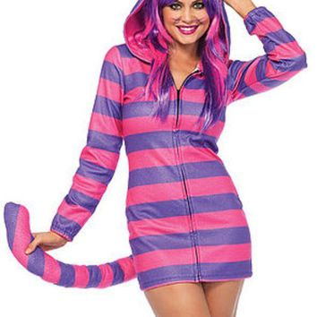 DCCKLP2 The Cozy Cheshire Cat, Fleece Dress w/Cat Ear Hood and Long Tail in Pink and Purple