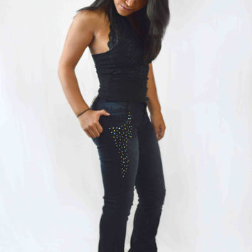 Pushup Boot Cut Jeans w/ Rhinestones