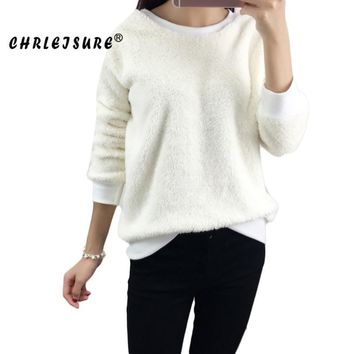 CHRLEISURE Womens Loose Winter Sweatshirts 2017 Cotton Round Neck Solid Regular Warm Simple Pullovers Women For Sweatshirt